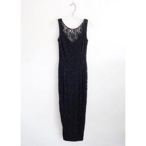 Vintage 90s Black Beaded Lace Gown Dress sz 4